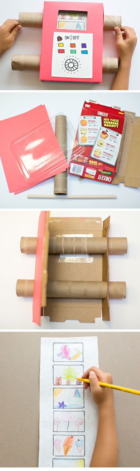 Easy Recycled TV Showing Off Your Kids Art | 18 DIY Summer Art Projects for Kids to Make | Easy Art Projects for Toddlers