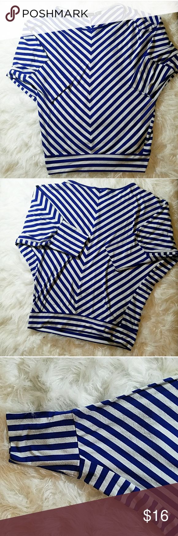 Blue & White Stripe Top with batwing sleeves Blue & White Striped batwing sleeve top! Gently used. Metaphor Tops Blouses