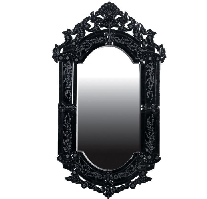 Image Detail for - Black Glass Gothic Mirror