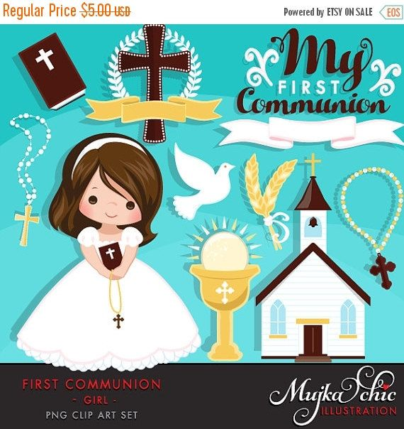 60% OFF SALE My first Communion Clipart for Girls. Cute Communion characters, graphics, bible, church, rosary, communion banner. First Commu