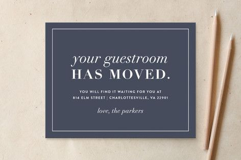 New Guestroom Moving Announcements by Amy Kross at minted.com                                                                                                                                                                                 More