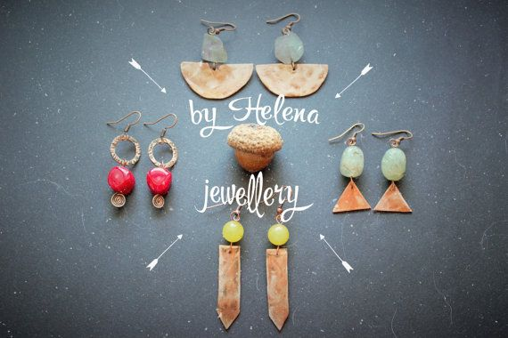 You can choose one of this geometric earrings with natural stones or order all of them =) This jewelry is made of copper sheet. They have a