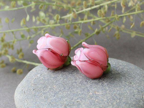 Handmade Flower Lampwork Beads  Pink Rose by JewelryBeadsByKatie