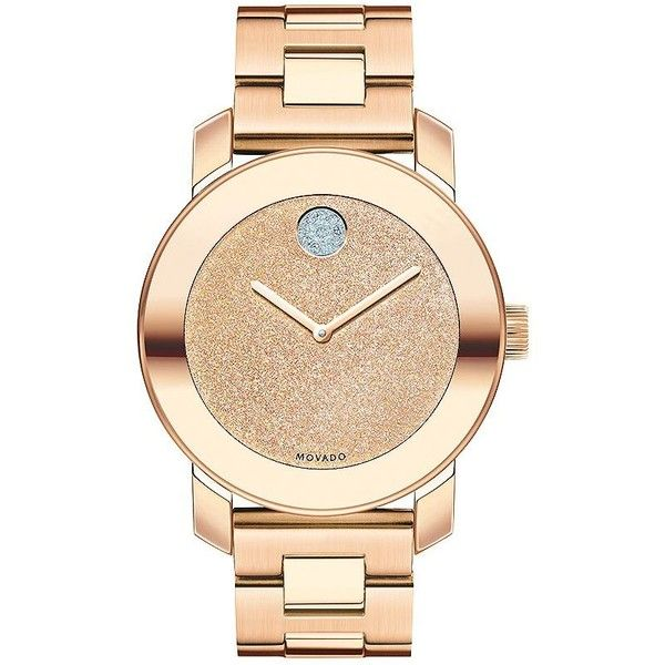 Movado Bold Glitter & Rose Goldtone IP Stainless Steel Bracelet Watch ($730) ❤ liked on Polyvore featuring jewelry, watches, accessories, bracelets, apparel & accessories, rose gold, stainless steel bracelet watch, golden watches, rose gold tone jewelry and movado wrist watch