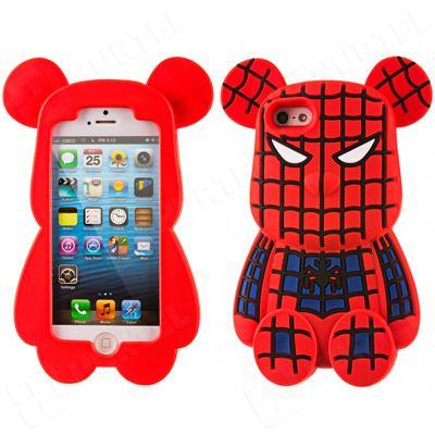 Etui, pokrowce, futerały Etui nakładki Etui nakładki 3D | Gumowe etui na iPhone 5S 5 miś Spider Bear czerwono-niebieskie | EKLIK - Sklep GSM, Akcesoria na tablet i telefon