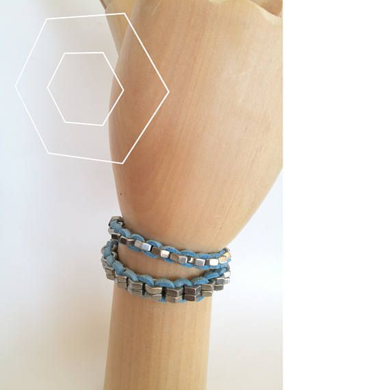 HEXNUTSMADE Hardware bracelets with brass hex nuts , industrial design bangles , light blue suede leather cord hex nut jewelry