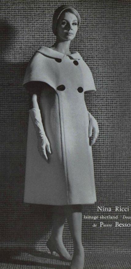 1960 Nina Ricci.  Love the idea of this shorter as a cape 50s 60s bridge era designer fashion coat jacket white