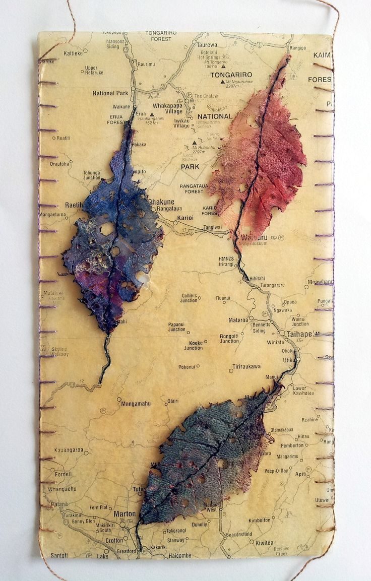 organza leaves with map by Ailie Snow