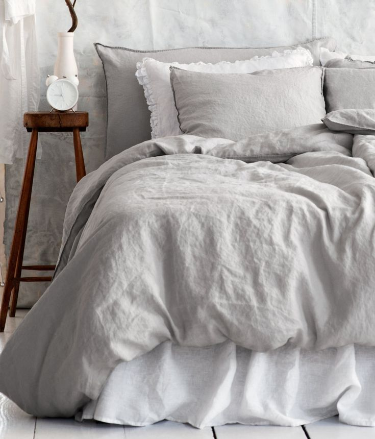 Grey bedroom. I need to get a bedskirt like this because my bedspread isn't long enough.