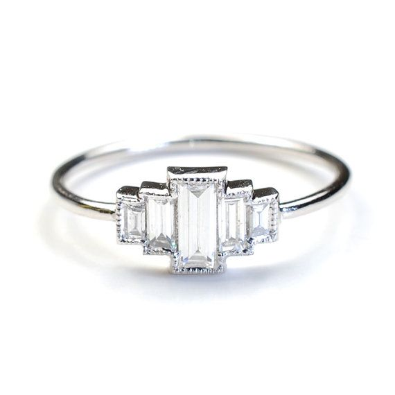 Diamond Engagement Ring, Engagement Ring, Baguette Engagement Ring, Baguette Diamonds and White Gold, Vintage Art Deco Style Ring, Nixin 2,000