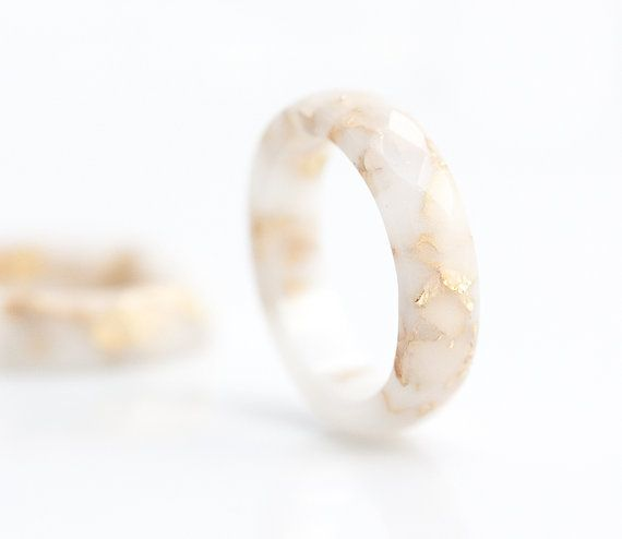 White Resin Stacking Ring Gold Flakes Small Faceted by daimblond