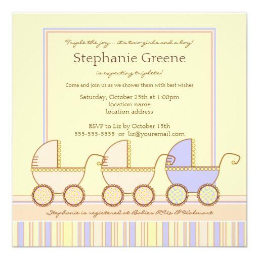 20 best triplet baby shower invitations images on pinterest trio carriage triplet girls boy shower invitation filmwisefo