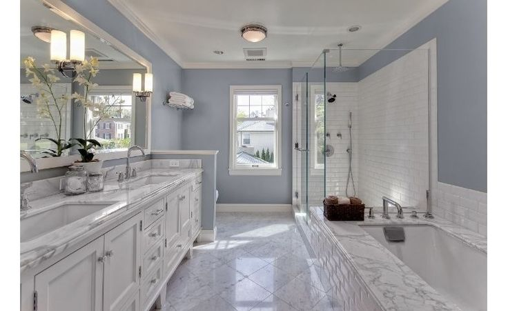 Simple White Marble Master Bathroom with Double Vanity Sinks