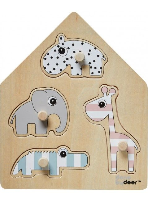 Done by Deer Steck-Puzzle Deer Friends für Kleinkinder. Das perfekte Geschenk zum 1. Geburtstag? Erhältlich bei www.kleinefabriek.com.