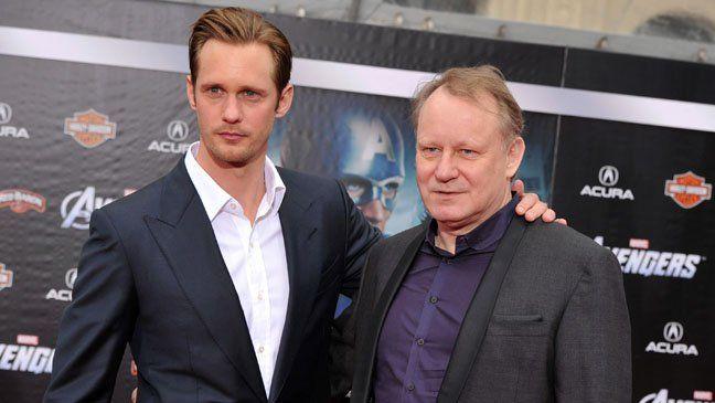 The oldest of 8 children actor Alexander Skarsgard is shown with his father actor Stellan Skarsgard