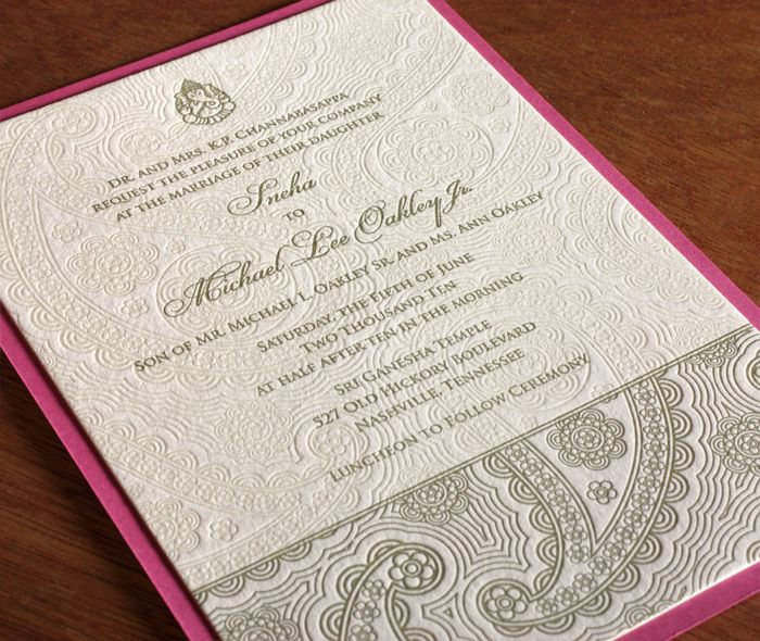 Devi is by far one of our most popular designs and features a floral paisley design highlighted on the bottom of the invitation.  To create even more visual contrast, many brides choose to do a blind impression or a tint of the same paisley design across the rest of the invitation, as seen here.  | Invitations by Ajalon | invitationsbyajalon.com