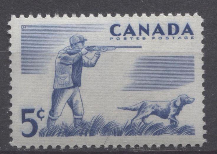 Canada #367 5c Blue 1957 Hunting VF 75/80 NH
