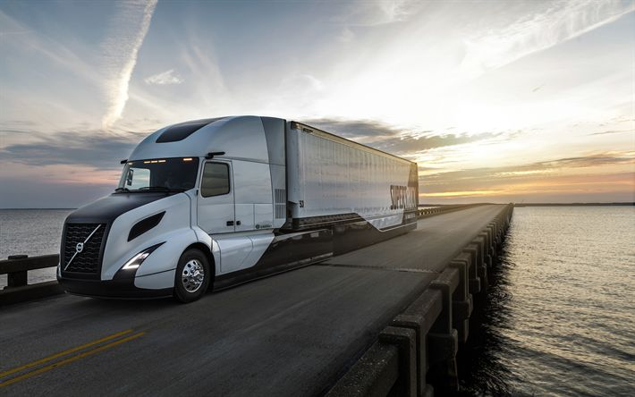 Descargar fondos de pantalla Volvo SuperTruck, 4k, 2018 camiones, carretera, vagón, puente, camiones, Volvo