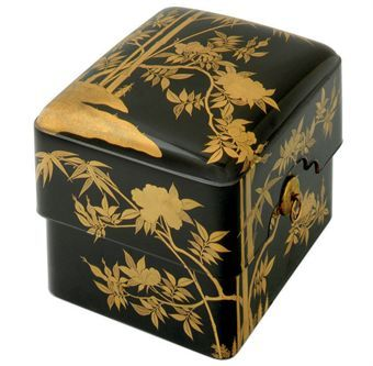 A Lacquer Tebako [Accessory Box]   Edo Period (17th century)   The rounded rectangular box with overhanging cover and inner tray decorated in gold hiramaki-e, takamaki-e and nashiji on a black ground with peony and bamboo