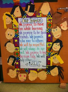 Classroom Promise on Door, surrounded by sweet little faces :)
