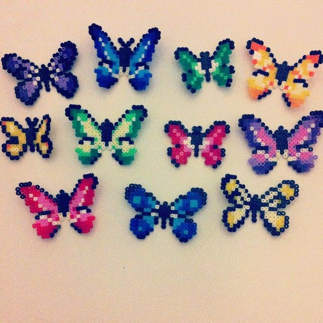 Butterflies hama mini beads by goldenone78