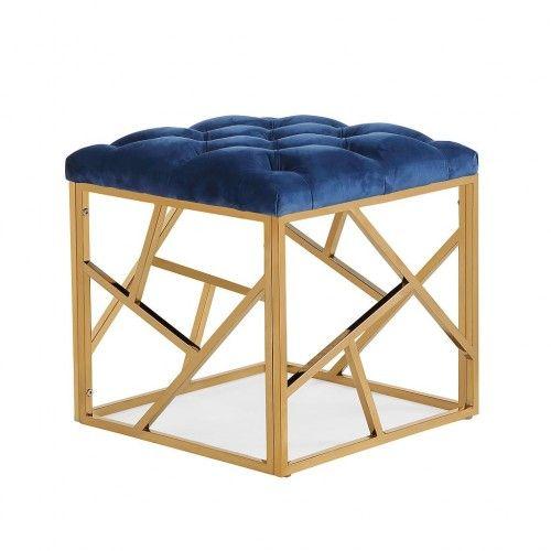 Navy Blue & Gold Velvet Ottoman Footstool