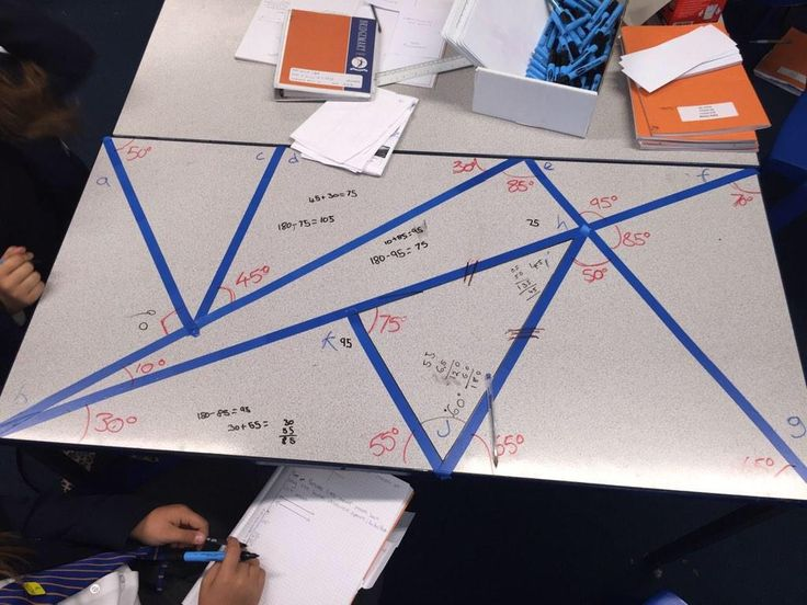 Electrical tape, whiteboard pens - measure angles, missing angles in triangles.