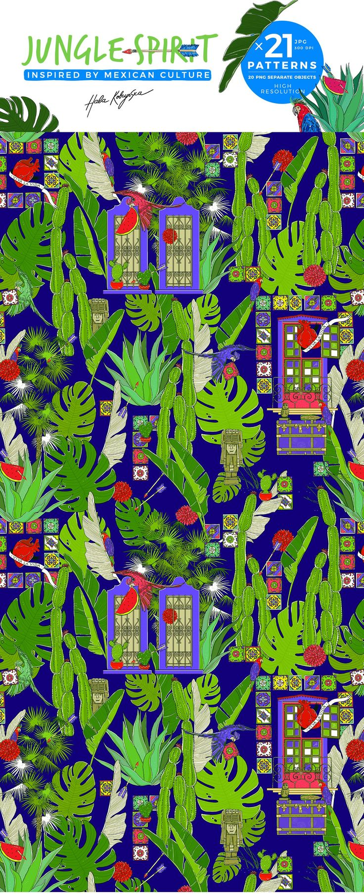 Summer anyone? Here is my hand drawn jungle pattern inspired by Mexican culture ❤   Hand draw seamless jungle pattern inspired by Mexican culture. Include palm leaves, cactuses, parrots, arrows, azulejos, heart, viva la vida, mexican windows, chest, jungle leaves. You can use it for your fabric, wallpaper, cards, blogs, magazines, wallpapers, background of web page, textile for kids goods etc.  All patterns and illustrations are copyright of Hala Kobrynska ©