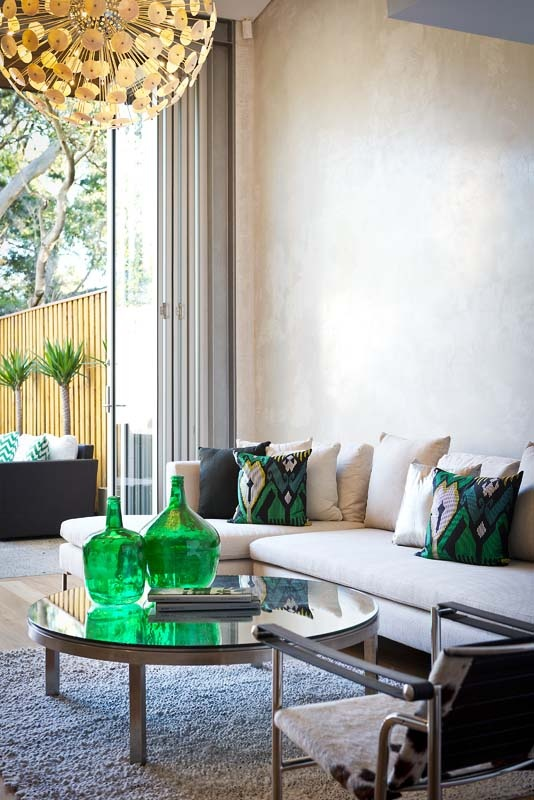Advantage Property Styling, Living Room, Indoor, Outdoor, Yukka's, Green, Glass Bottle, Linen Sofa, KAS Cushions, Wassily Chair, Cowhide
