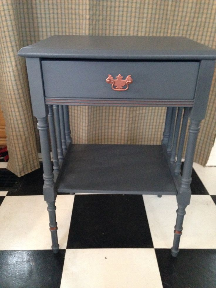Grey Side Table With Copper Paint And Handle Our Painted