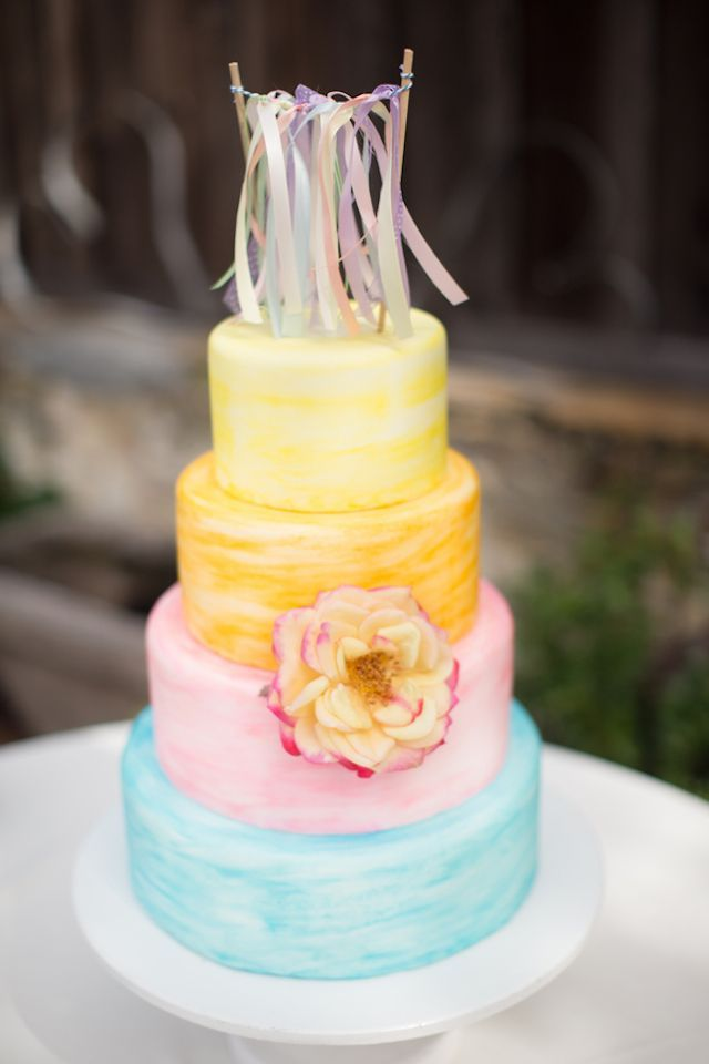 Colorful pastel wedding cake