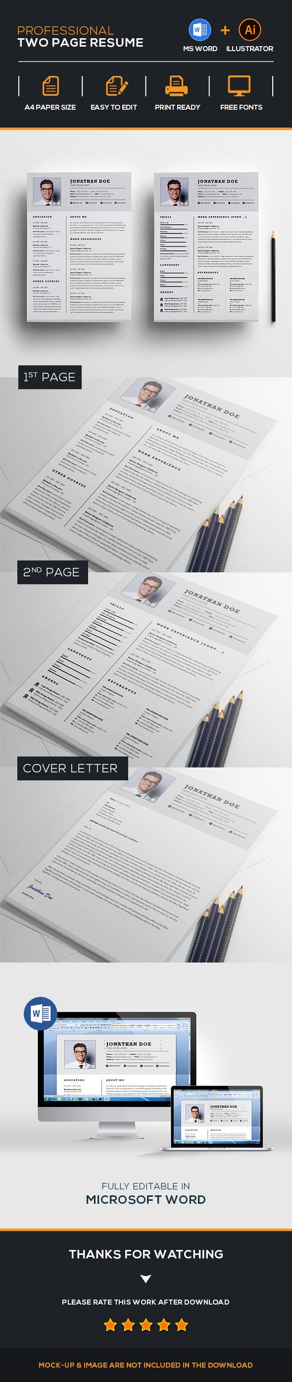 Professional Two Page Resume Set. Cv TemplateResume TemplatesProfessional  ...