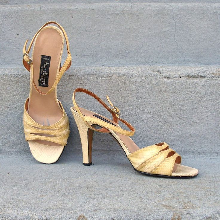 Vintage 1960s High Heels Yellow Ombre Snakeskin Ankle Strap High Heel Sandals / 6.5 to 7B by LookAgainVintage on Etsy https://www.etsy.com/listing/95459671/vintage-1960s-high-heels-yellow-ombre
