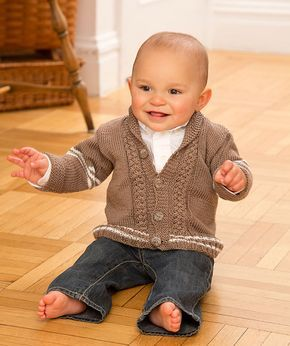 Baby will stay warm and stylish in this comfy cabled cardigan. Make it in neutral colours as shown, or experiment with brighter colours.