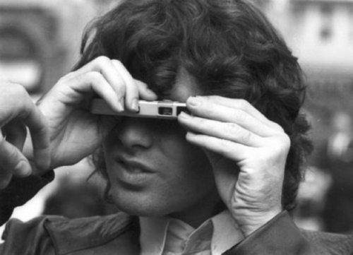 Famous with cameras set | An Imagetic Curator |  Jim Morrison with Minox Spy Camera