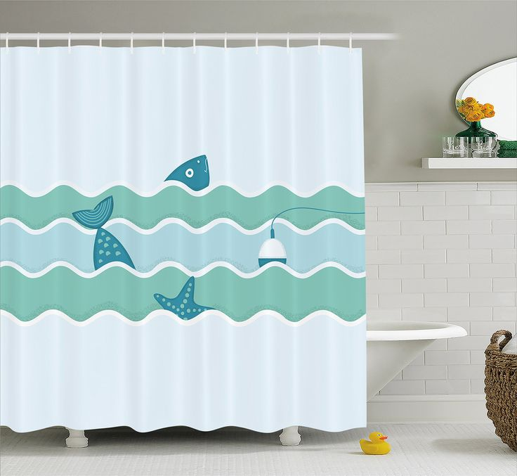 Fishing Decor Shower Curtain by Ambesonne, Fish Tail and Starfish Swimming in Flat Waves Submarine Comic Illustration, Fabric Bathroom Decor Set with Hooks, 84 Inches Extra Long, Light Blue