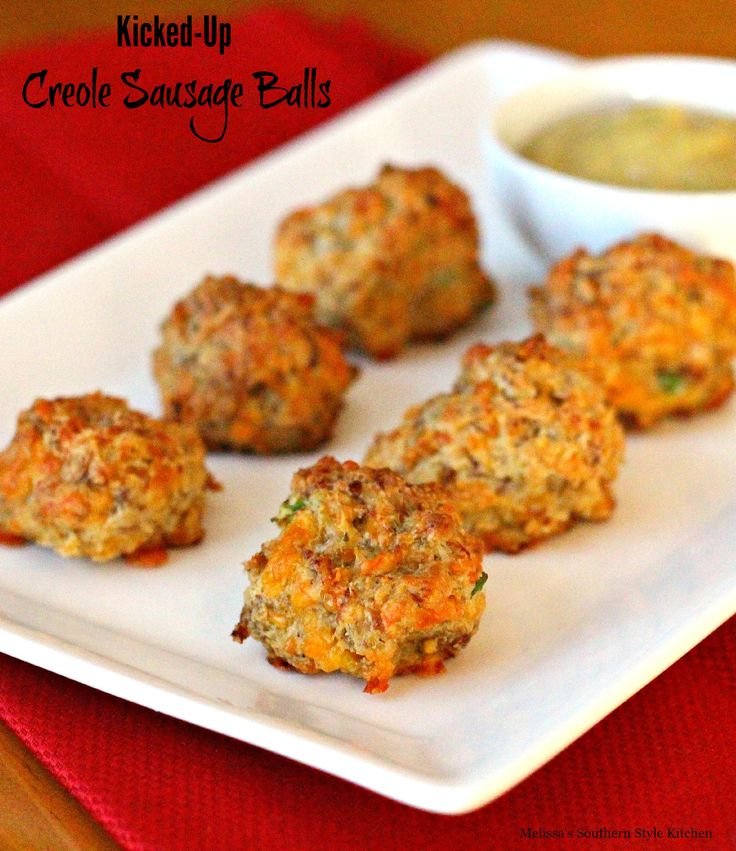 Kicked Up Creole Sausage Balls - Sausage balls are a tried and true Southern tradition. They're simple to make and tend to be served as an appetizer quite often around the Holidays.