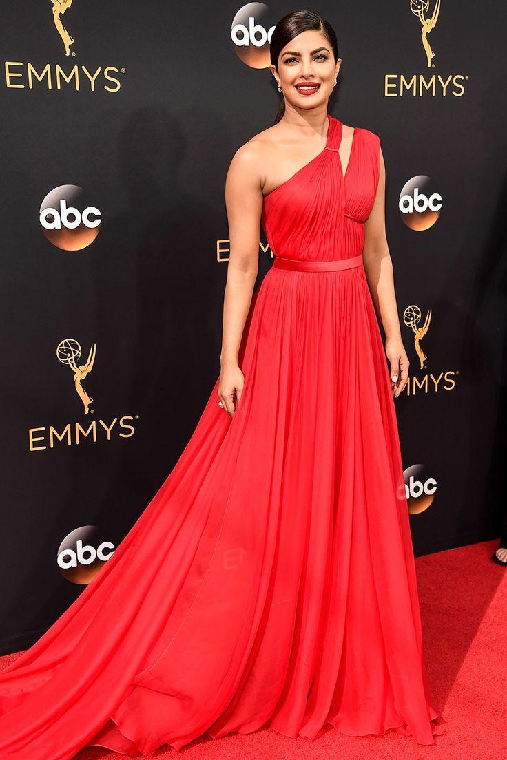 Priyanka Chopra in red toga Jason Wu gown // Bridal fashion inspiration on the Emmys 2016 red carpet