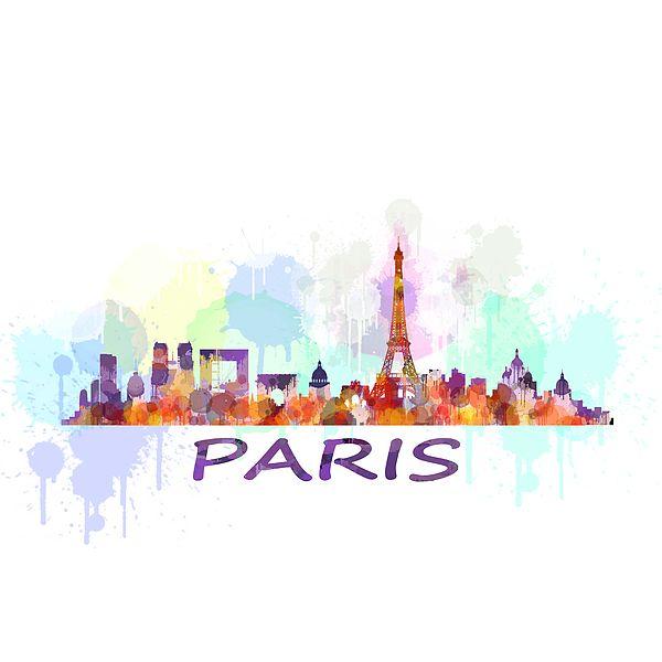 Paris City Skyline Hq Watercolor By HQ Photo
