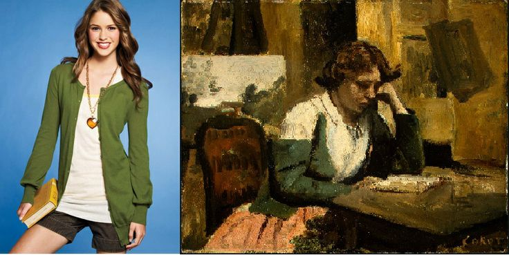 """Boyfriend Cardigan. Inspired of """"Young Girl Reading"""" - Camille Corot. Realism movement."""