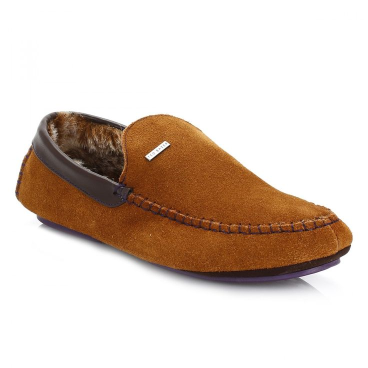 Ted Baker Mens Tan Maddoxx Suede Slippers