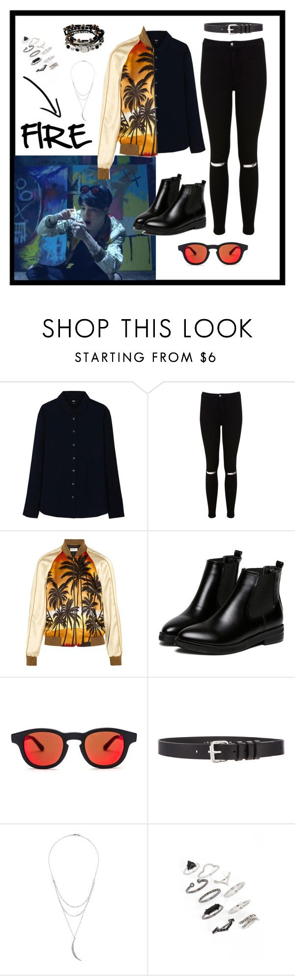 """Jimin Inspired Outfit (BTS-FIRE)"" by parkjiminie ❤ liked on Polyvore featuring Uniqlo, Miss Selfridge, Yves Saint Laurent, WithChic, Quattrocento, IRO, Charlotte Russe, Topshop and Kenneth Cole"