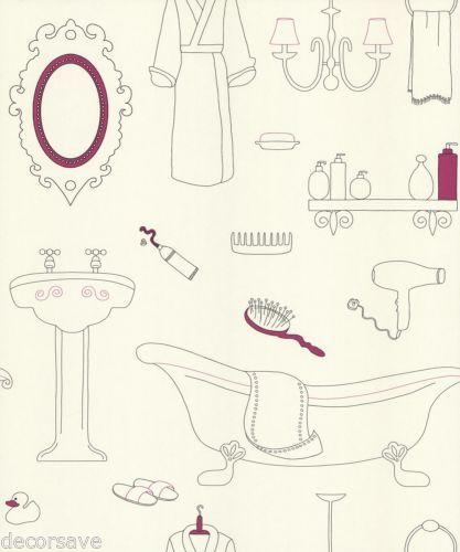 Holden Decor K2 Mirror Mirror Wallpaper 10540. Bathroom Comb Robe White Pink | eBay