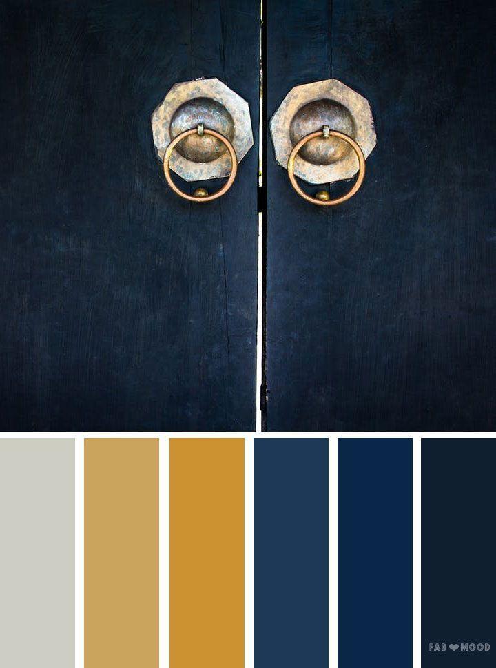 Blaues und goldenes Farbschema, Farbpalette, inspiriert von alten Türen – Auf der Suche