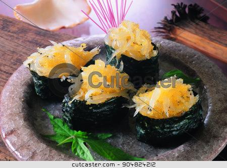sushi caviar stock photo