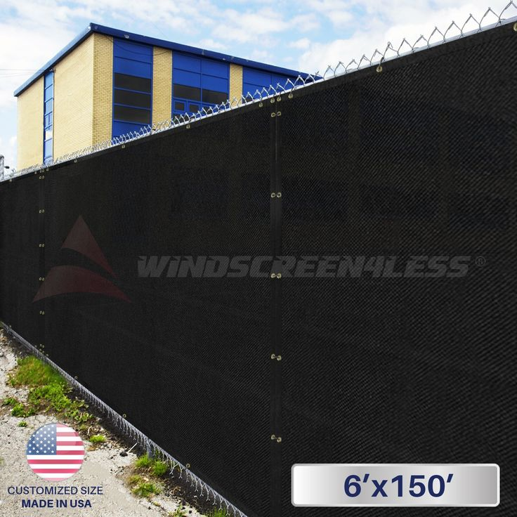 6' x 150' Privacy Fence Screen in Black with Brass Grommet 85% Blockage Windscreen Outdoor Mesh Fencing Cover Netting Fabric - Custom Size Available