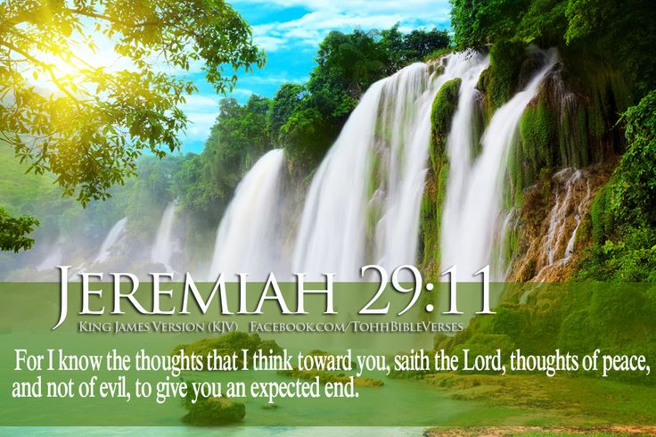Jeremiah 29:11 (KJV) For I know the thoughts that I think toward you, saith the LORD, thoughts of peace, and not of evil, to give you an expected end.