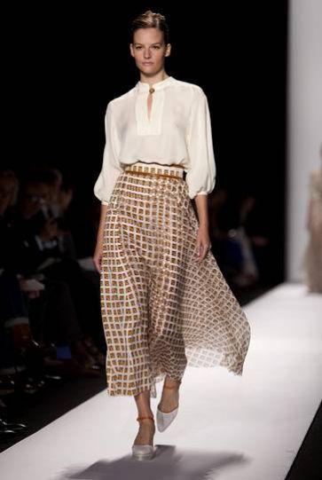 Carolina Herrera 2014: white shirt and ethnic maxi skirt. #ch