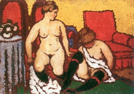 Jozsef Rippl-Ronai, (1861-1927), 1912-3, Girls Getting Dressed (red furniture and yellow wall), Oil on cardboard.  on ArtStack #jozsef-rippl-ronai #art