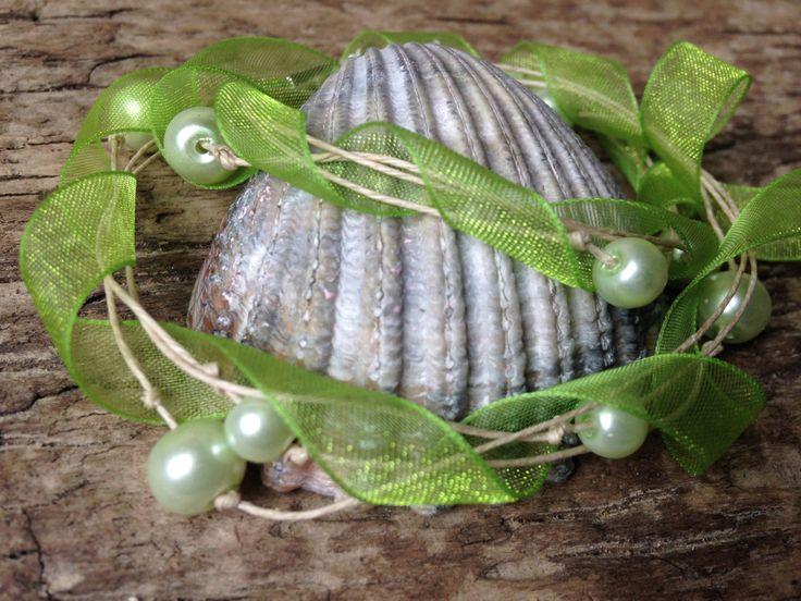 Green Ribbon Glamor Handmade Bracelet with Green Pearl Beads by EffyBuu on Etsy